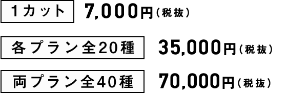 1カット、7,000円(税抜)、各プラン全20種、35,000円(税抜)、両プラン全40種、70,000円(税抜)