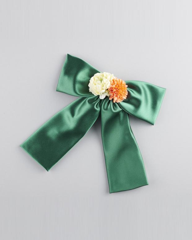 ラブリス髪飾り(緑)リボン・サテン