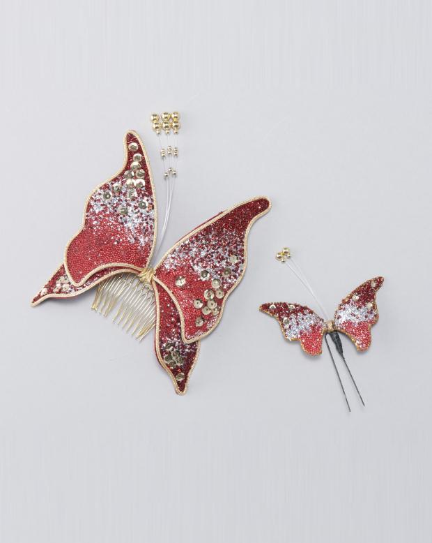 ラブリス髪飾り(エンジ)蝶・セット