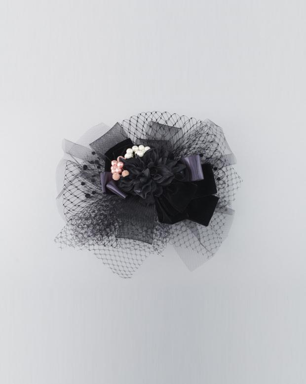 ラブリス髪飾り(黒)チュール・リボン
