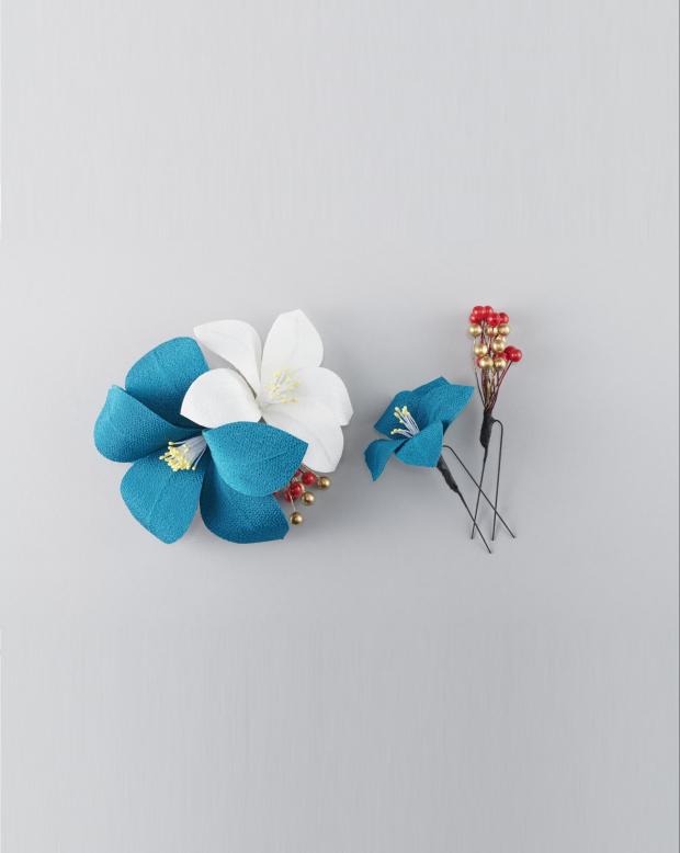 ラブリス髪飾り(白X青)花