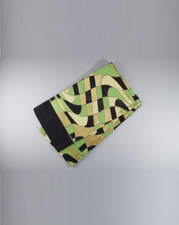 ラブリス袋帯(黒X金X黄緑)幾何学
