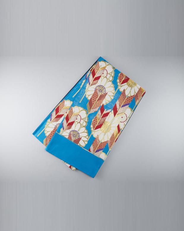 ラブリス袋帯(白X赤X青)花柄