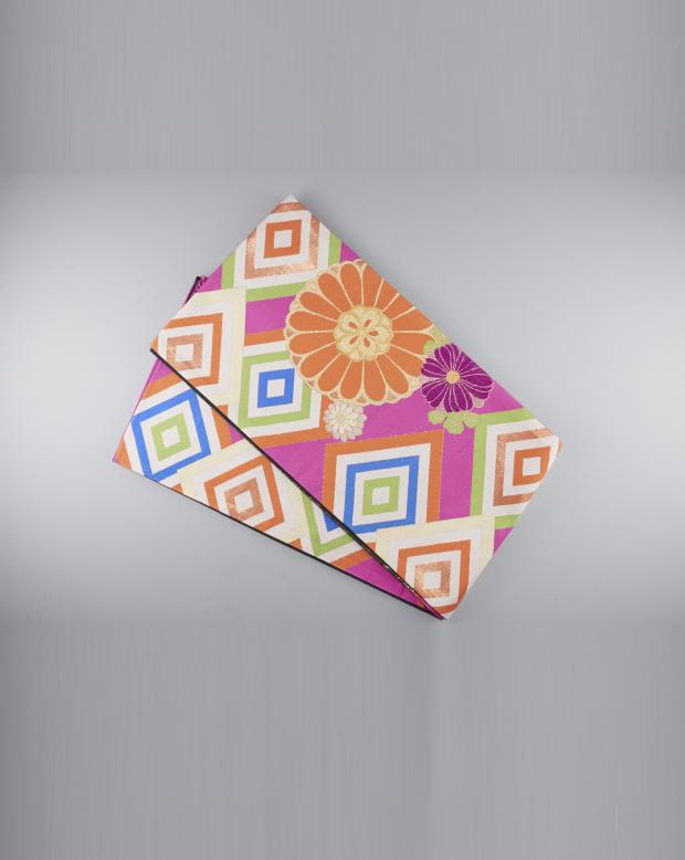 ラブリス袋帯(オレンジXピンクX白)幾何学
