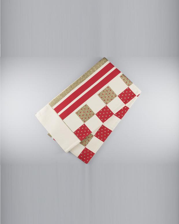 ラブリス袋帯(白X赤X金)市松ストライプ