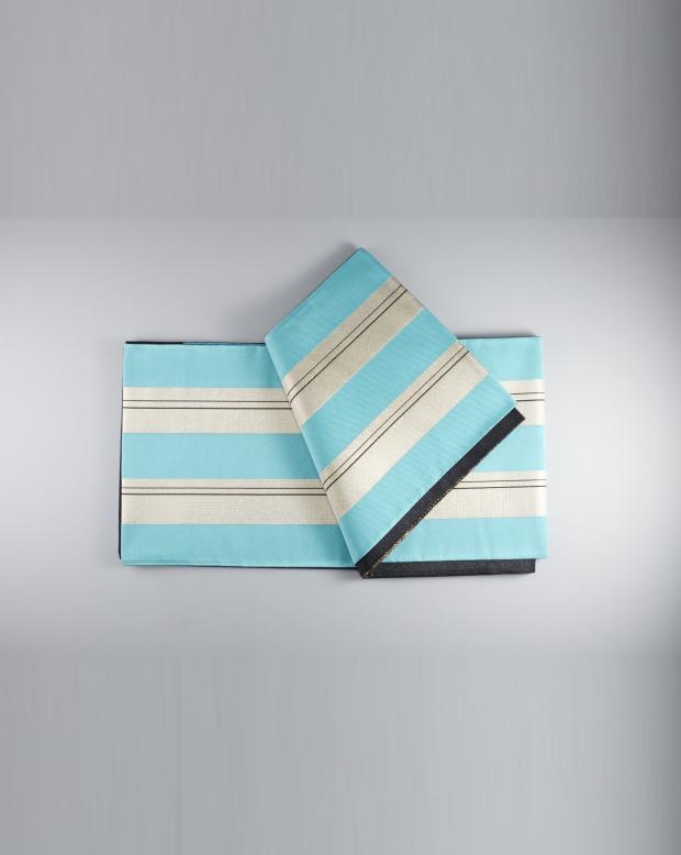 ラブリス袋帯(水色X銀)ストライプ