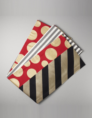 ラブリス袋帯(赤X金X黒)ドット・ストライプ
