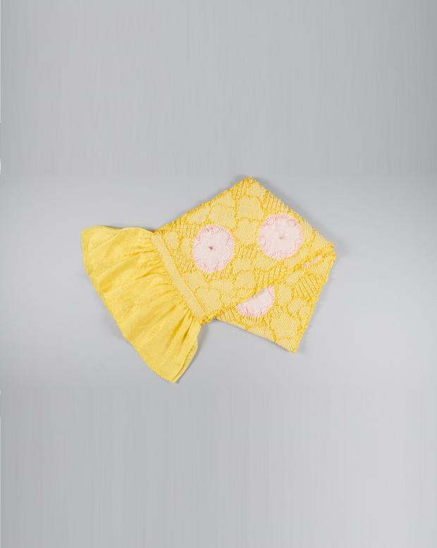 ラブリス帯揚げ(黄色)ピンク花
