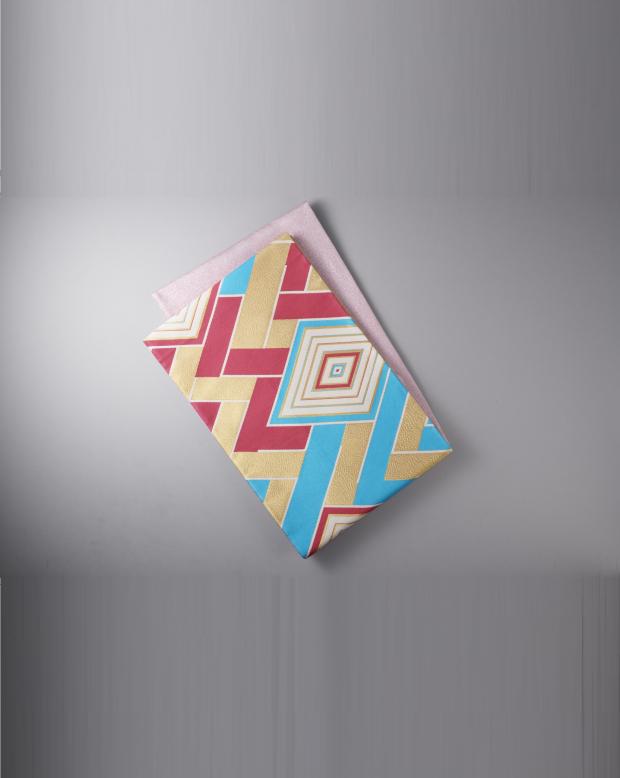 ラブリス袋帯(青X赤X金)幾何学