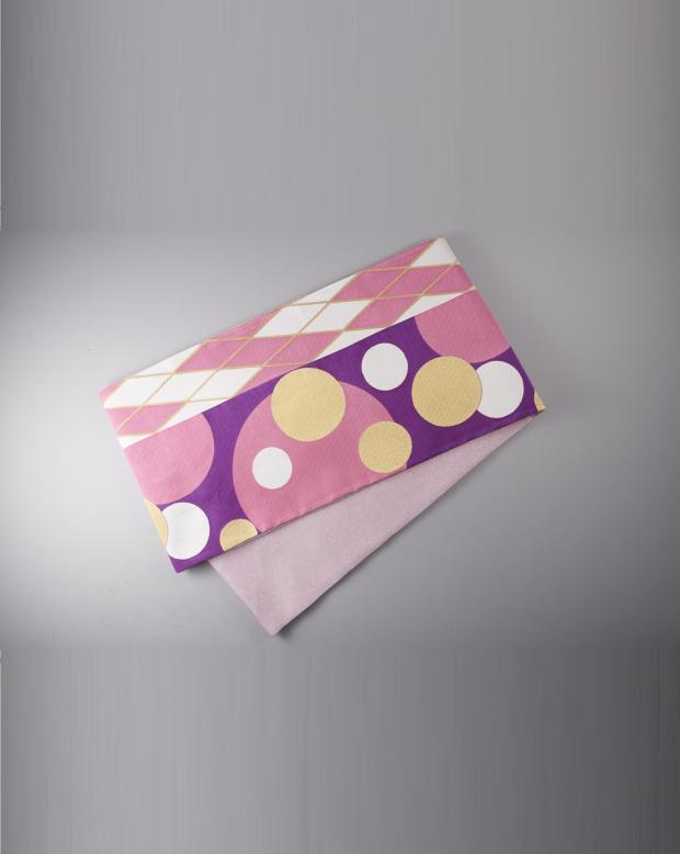 ラブリス袋帯(ピンクX紫)丸