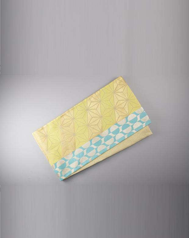 ラブリス袋帯(黄色X水色)幾何学