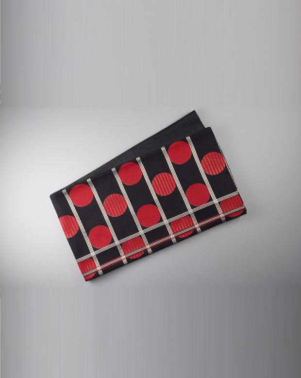 ラブリス袋帯(黒X赤)ドット