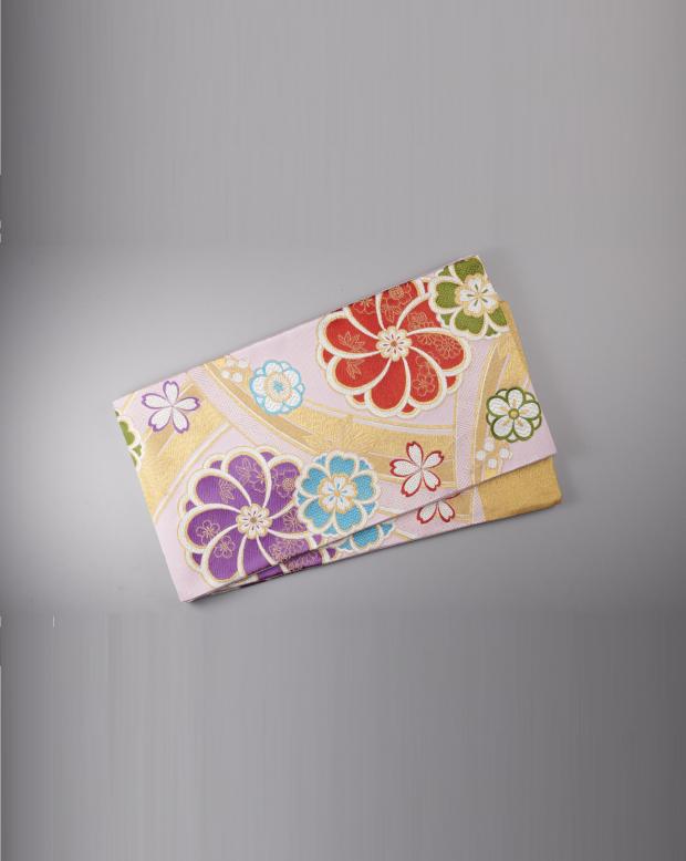 ラブリス袋帯(金X赤X緑X紫)花