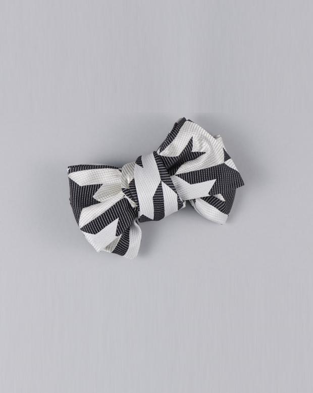 ラブリス帯飾り(グレーX黒)千鳥柄・リボン