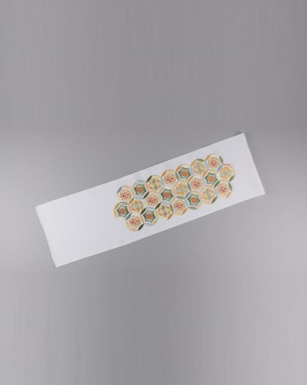 ラブリス半衿(白X黄)花