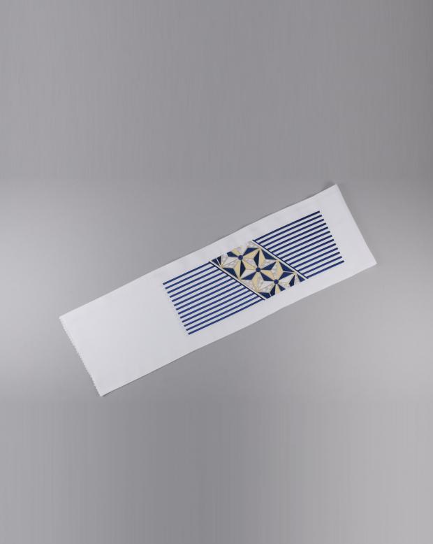 ラブリス半衿(白X青)風車