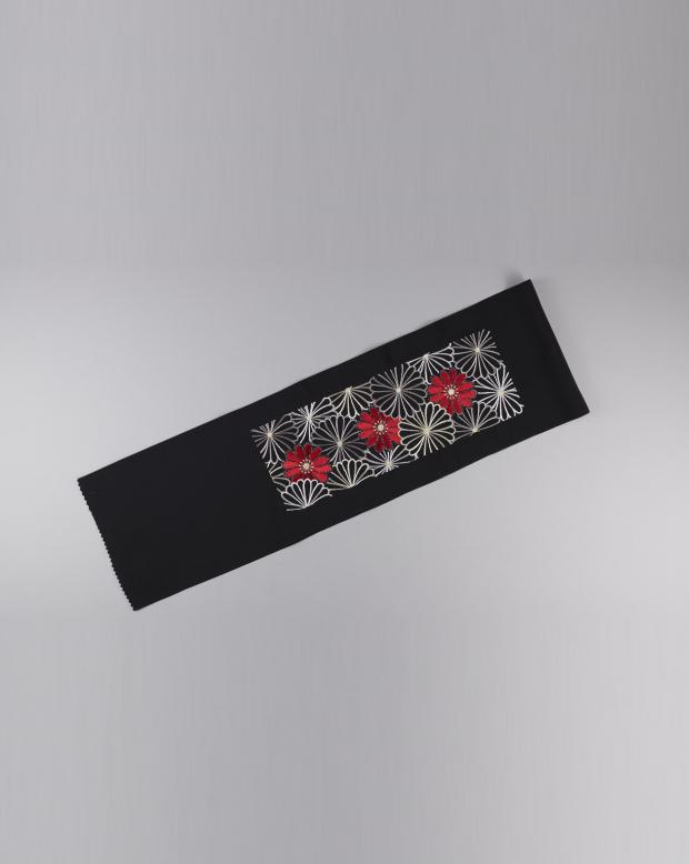 ラブリス半衿(黒X白X赤)花