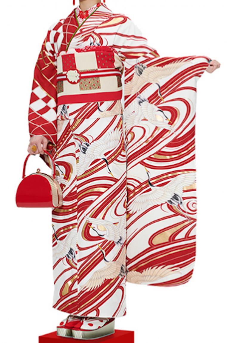 振袖(赤×白)鶴・オリジナル
