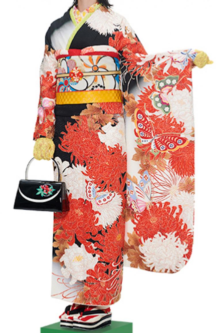 振袖(黒×白×オレンジ)乱菊
