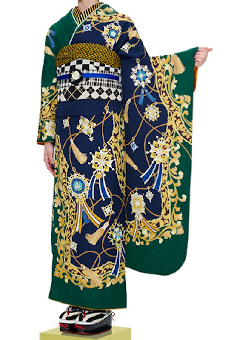 振袖(紺×緑)スカーフ・オリジナル