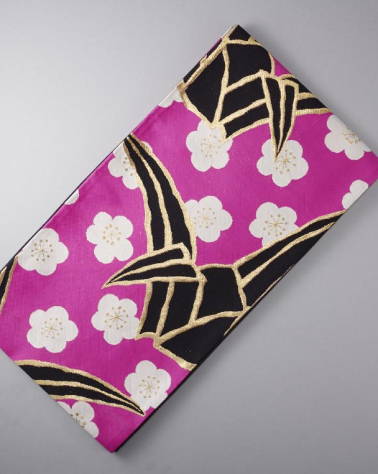袋帯(黒×ピンク)花