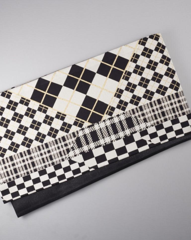 袋帯(白×黒)チェック