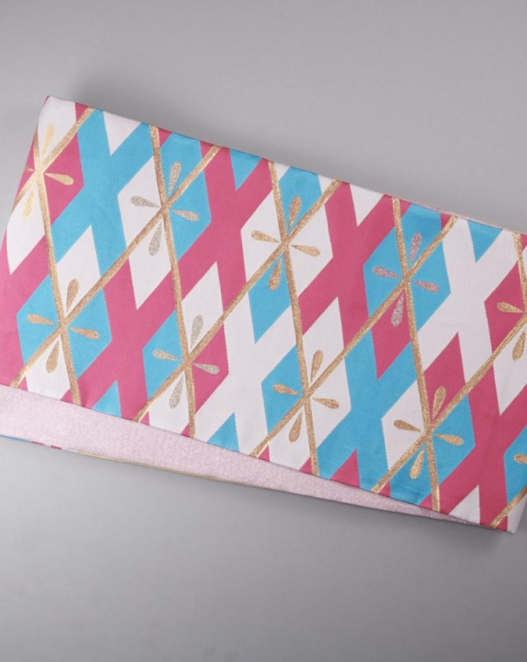 袋帯(水色×ピンク×白)ダイヤ