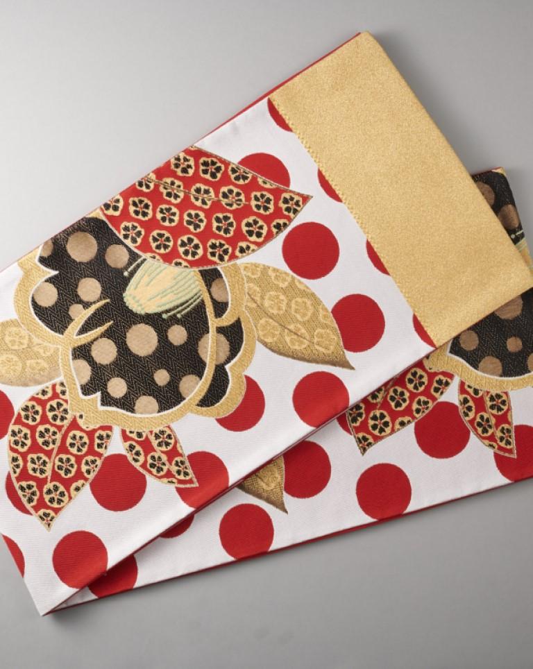 袋帯(白×赤×金)ドット