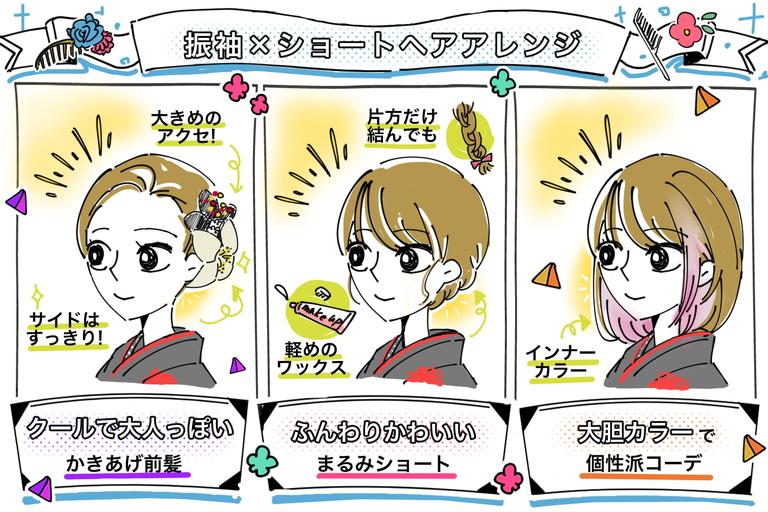 振袖にショートヘアは無敵の組み合わせ☆3つのアレンジポイント