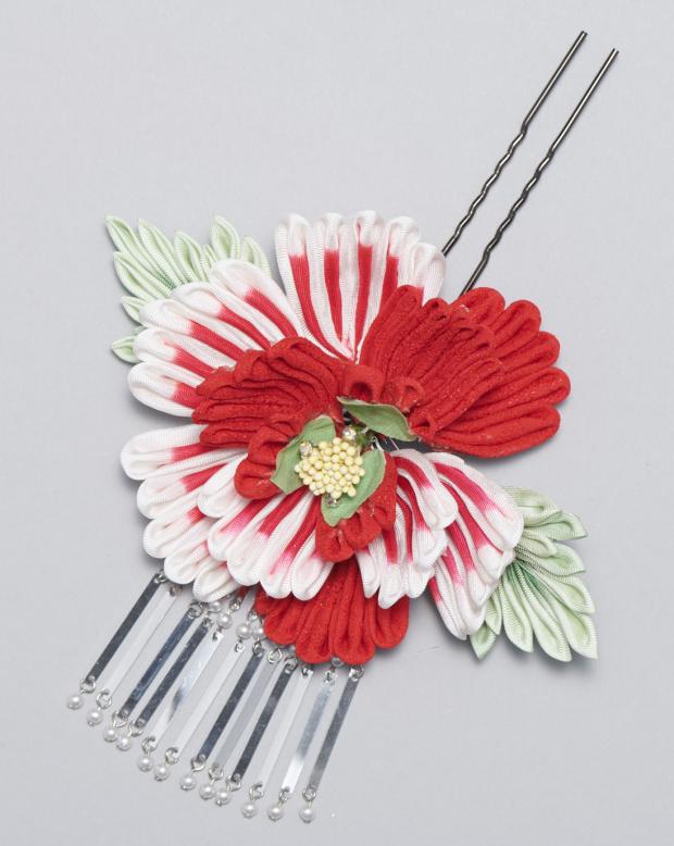 ラブリス髪飾り(赤X白)大花
