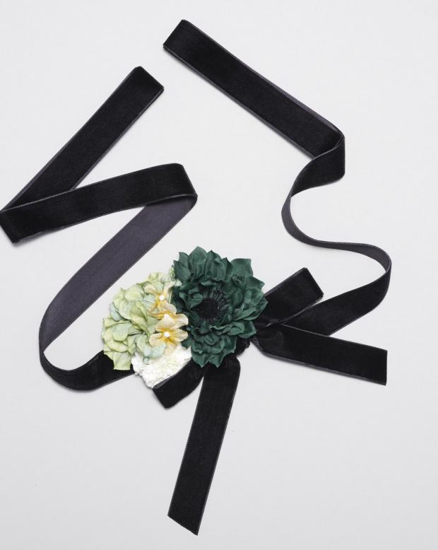 ラブリス髪飾り(黒X緑X白)リボン