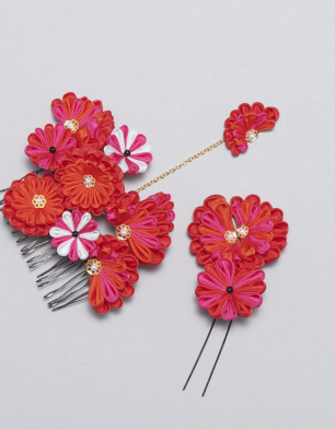 ラブリス髪飾り(赤)花・セット