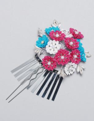 ラブリス髪飾り(ピンクX青X白)花