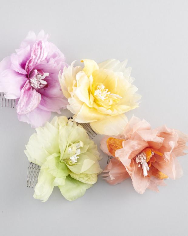 ラブリス髪飾り(紫X赤X黄色X黄緑)4色・花