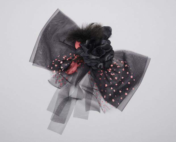 ラブリス髪飾り(黒)リボン・チュール
