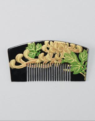 ラブリス髪飾り(黒X金)蒔絵・くし