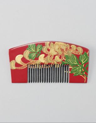 ラブリス髪飾り(赤X金)蒔絵・くし