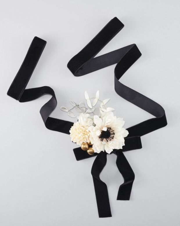 ラブリス髪飾り(黒X白)花・リボン