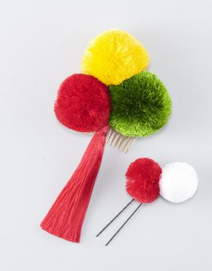 ラブリス髪飾り(赤X黄X緑)ポンポン