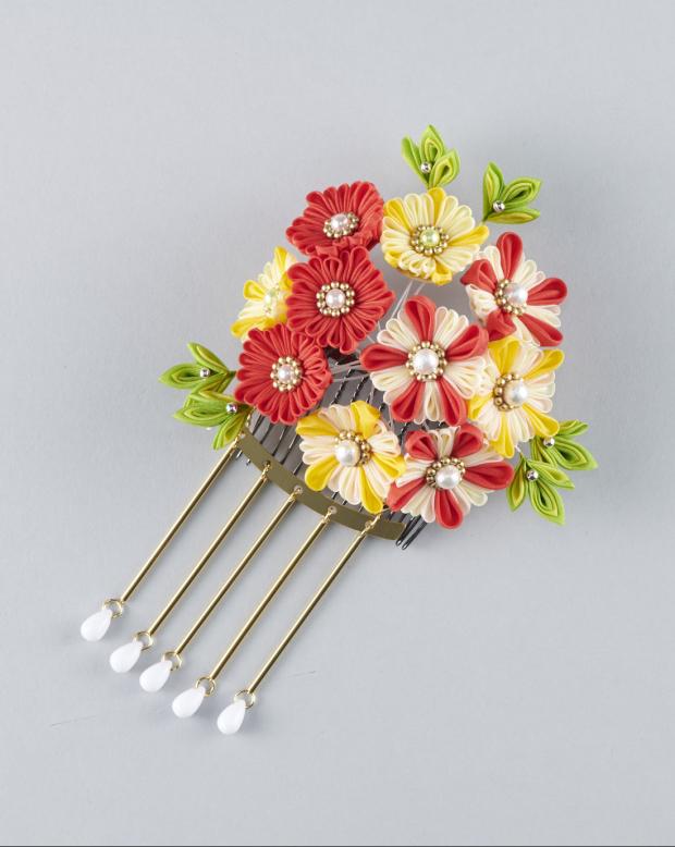 ラブリス髪飾り(黄X赤X白)花