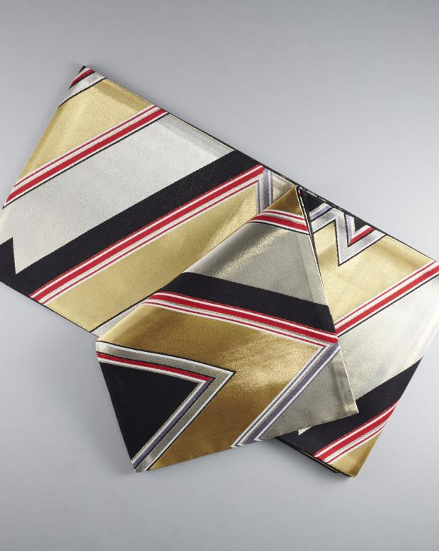ラブリス袋帯(銀X金X赤)ライン