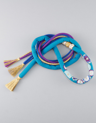 ラブリス帯締め(青X金X紫)丸くげ