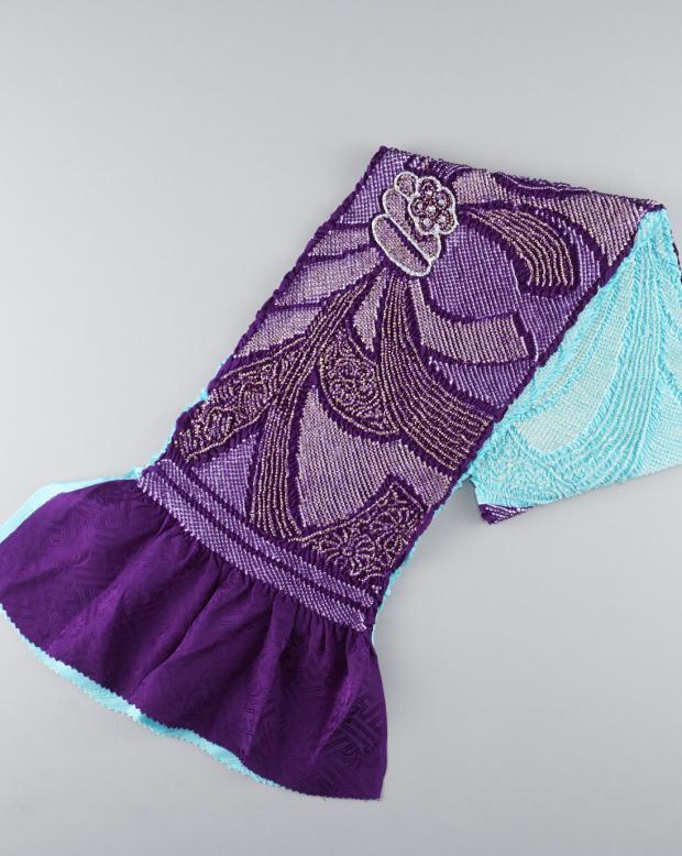 ラブリス帯揚げ(水色X紫)絞り・グラデ