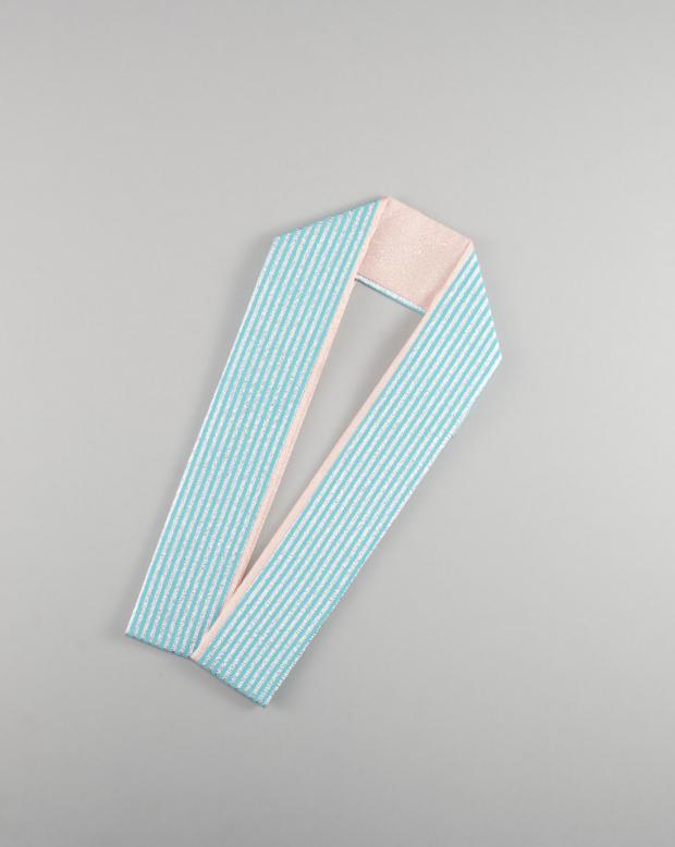 ラブリス重衿(水色X銀)ストライプ