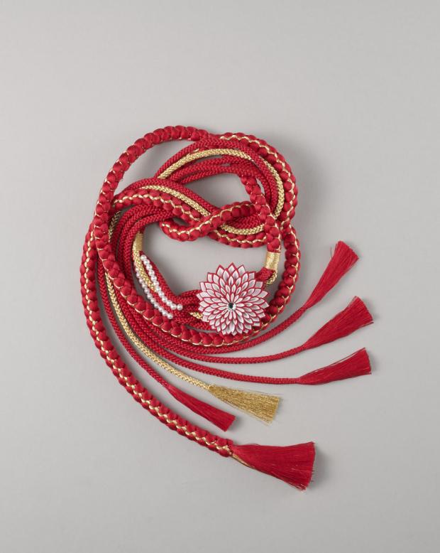ラブリス帯締め(赤X金)花・つまみ