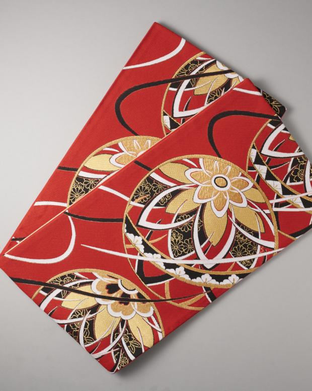ラブリス袋帯(赤X金X黒)葉模様