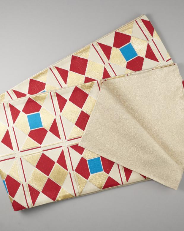 ラブリス袋帯(赤X金X青)幾何学
