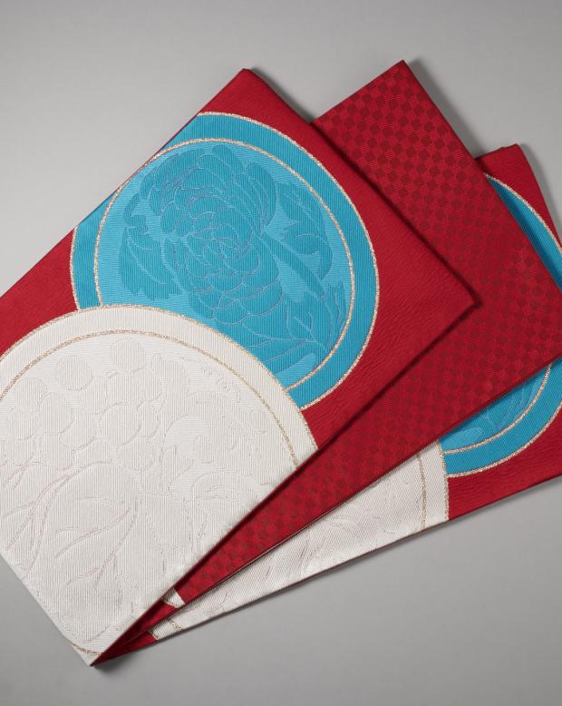 ラブリス袋帯(白X赤X水色)丸