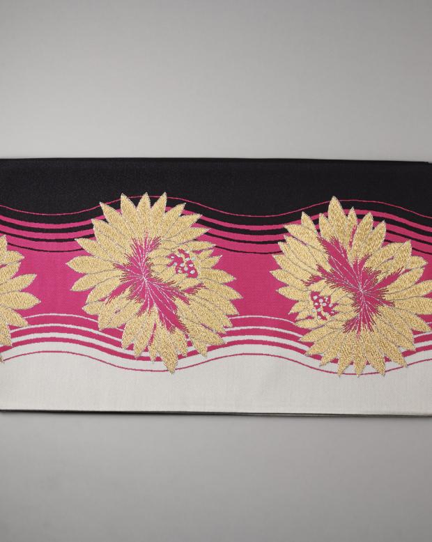 ラブリス袋帯(ピンクX黒X金)葉模様