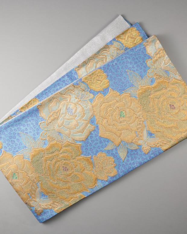 ラブリス袋帯(青X黄X金)花